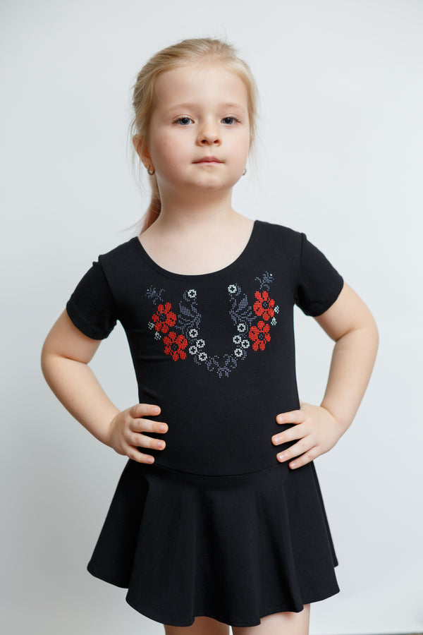 Short Sleeve Embroidered Bodysuit with Skirt- Floral