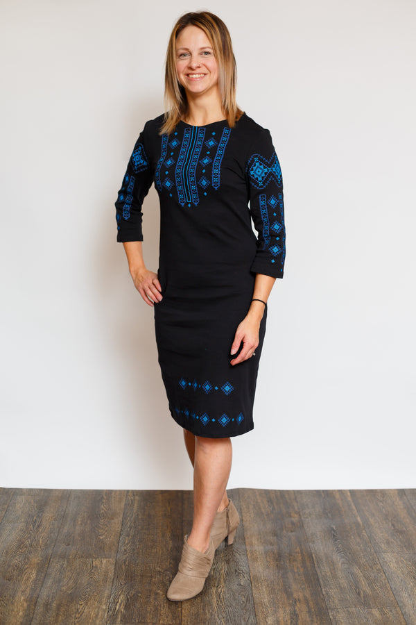 "Black Embroidered Dress ""Blue Geometric"""
