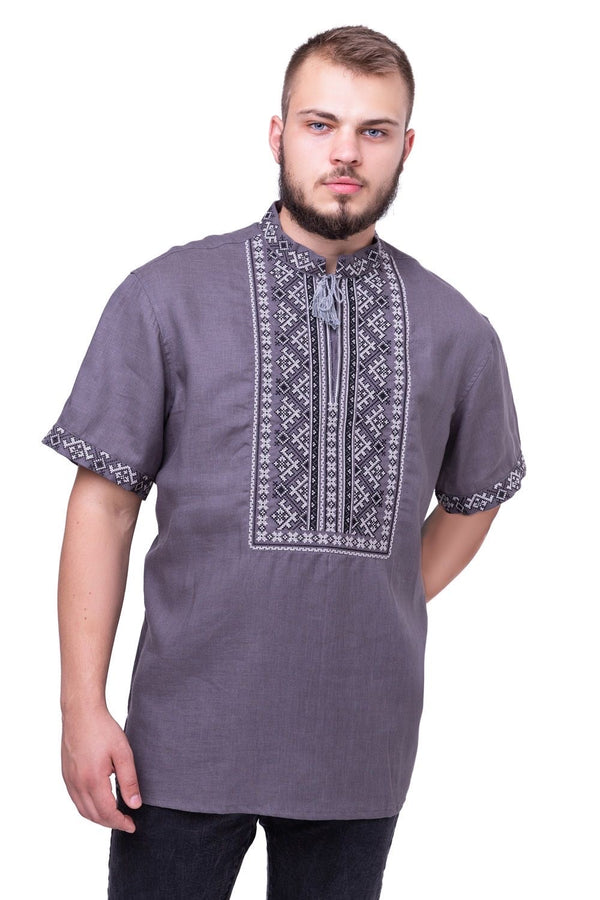 Men's Grey Embroidered Shirt