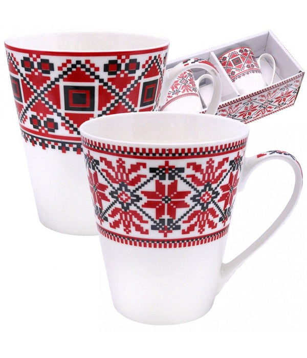 """Embroidered"" Mugs- Set of 2"