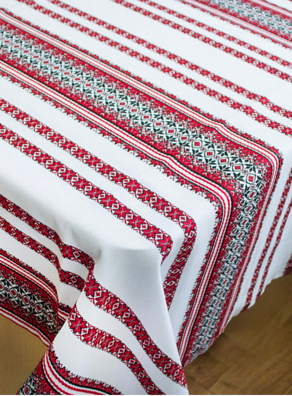 Red and Black Embroidered Tablecloth
