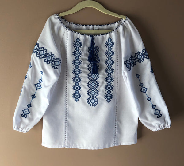 "Girl's Blouse ""Blue Geometric"""