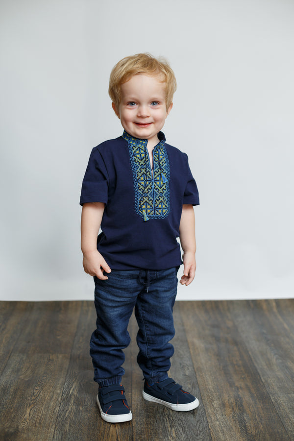 "Boy's Navy Embroidered T-shirt ""Traditional"""