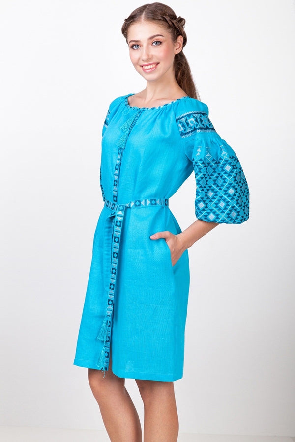 Sky Blue Embroidered Dress
