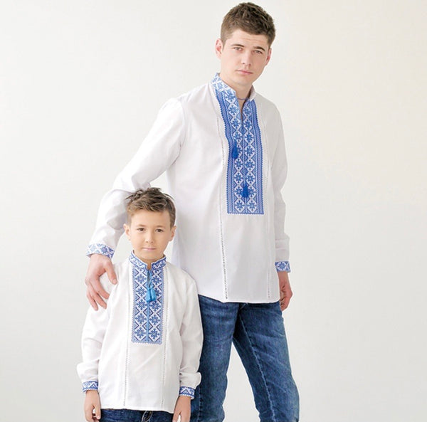 Boy's Shirt with Blue Embroidery