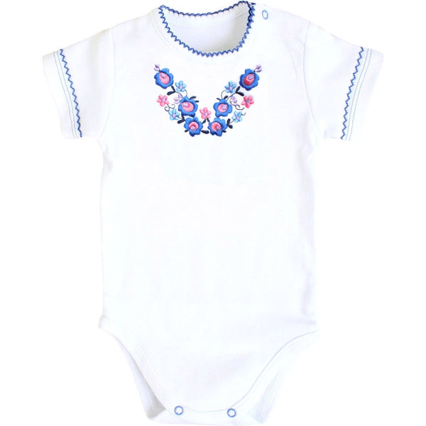 Short Sleeve Embroidered Onesie - Blue Flowers
