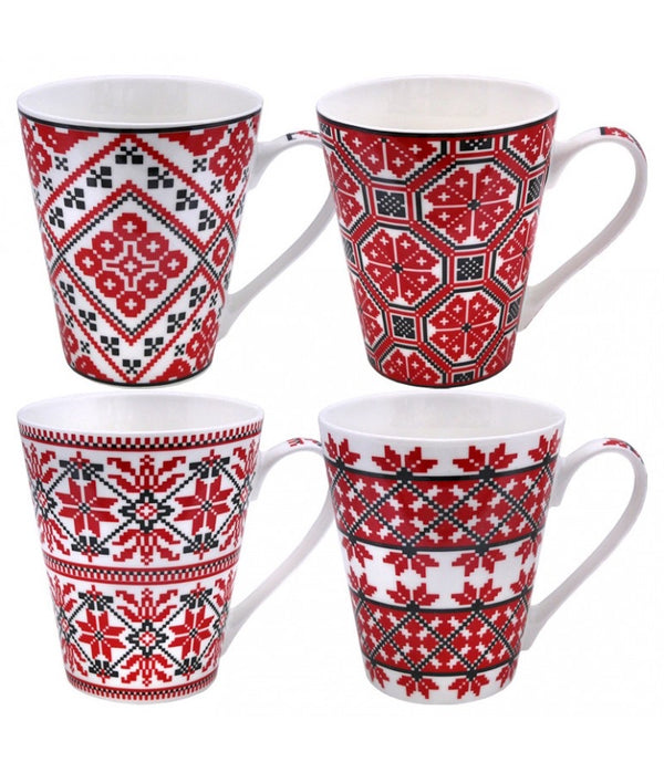 """Embroidered"" Mugs- Set of 4"