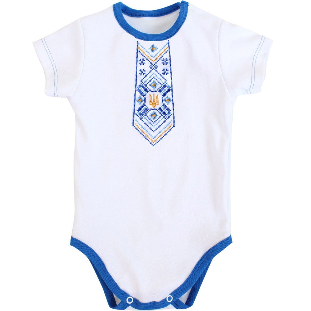 Short Sleeve Embroidered Onesie - Blue Necktie