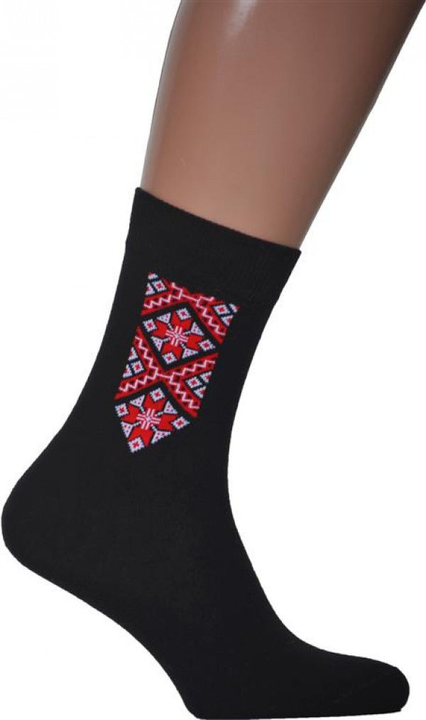 Men's Black Socks with Red Embroidery