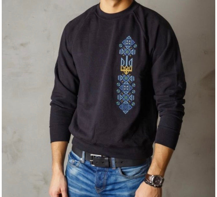 Sweatshirt with Embroidered Tryzub