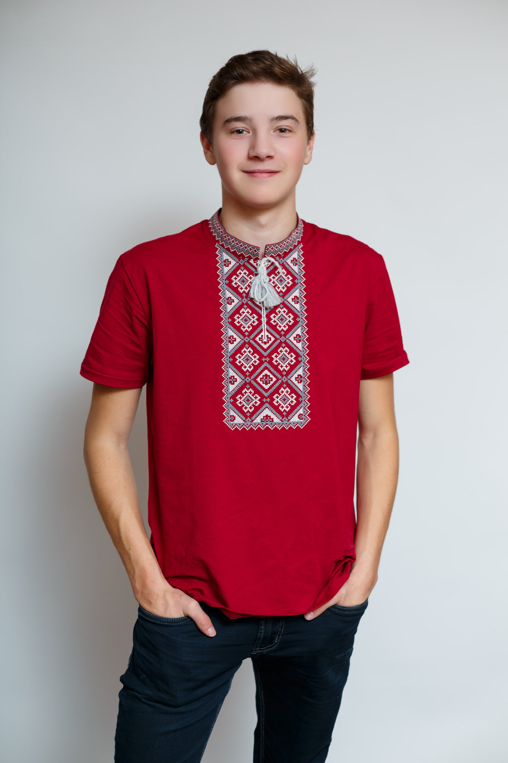 Kosar T-shirt - Burgundy and Grey