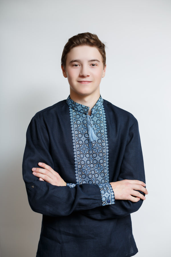 Elegant Embroidered Men's Linen Shirt