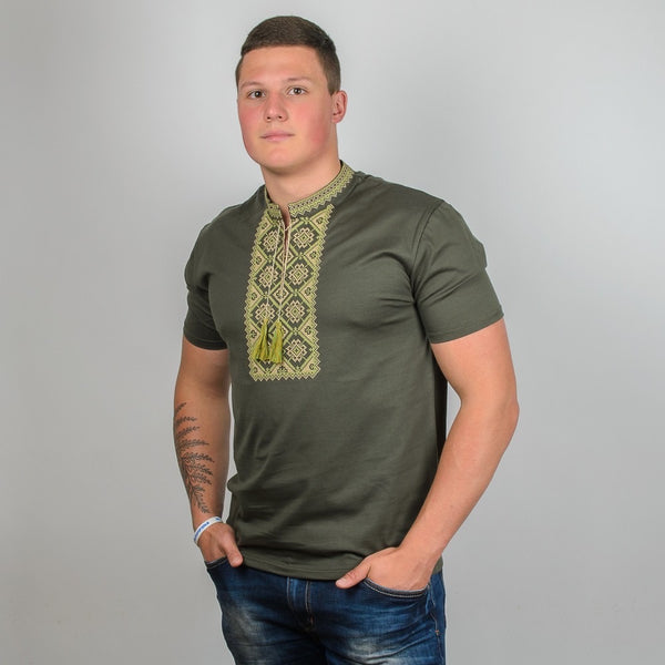 Kosar T-shirt - Green and Beige