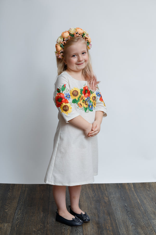 "Girl's Embroidered Dress "" Ukrainian Bouquet"""