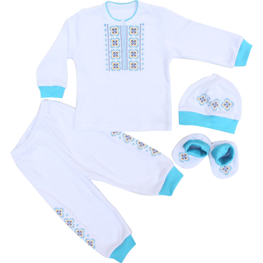 Turquoise Baby Boy Embroidered Set