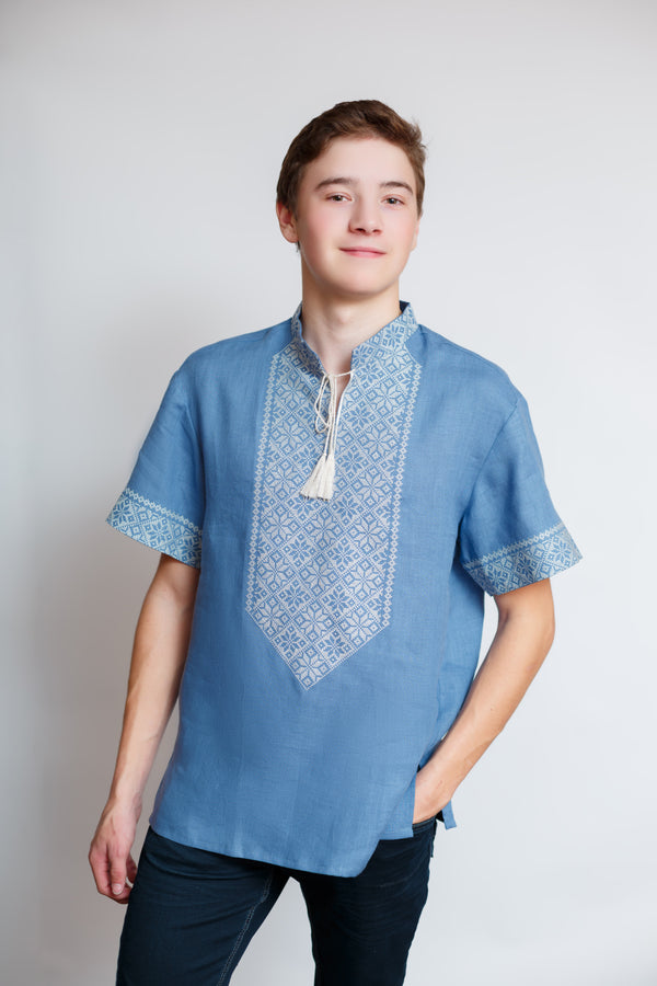 Men's Blue Shirt with White Embroidery