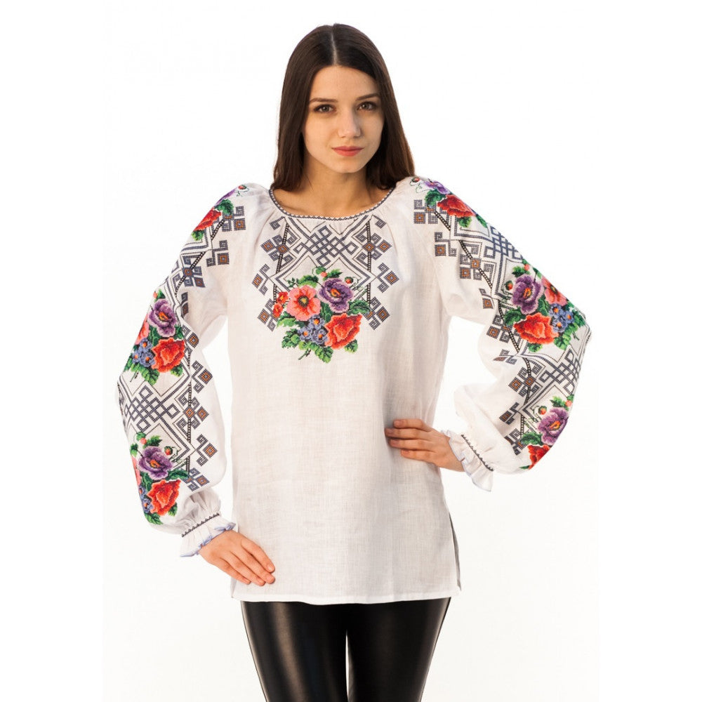 "Embroidered Blouse- ""Summer Bouquet"""
