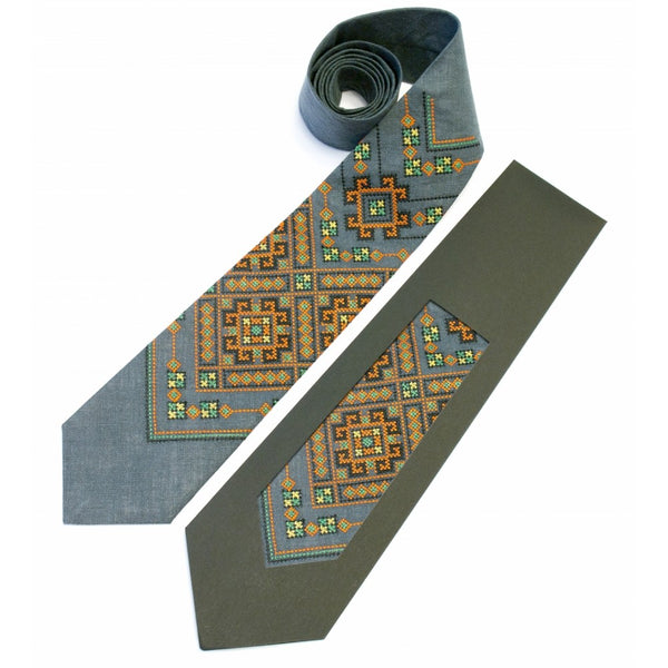 Grey Embroidered Necktie