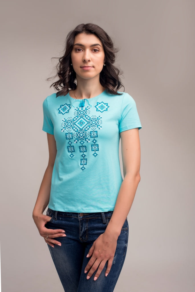"Women's Embroidered T-shirt ""Pysanka""- Turquoise"