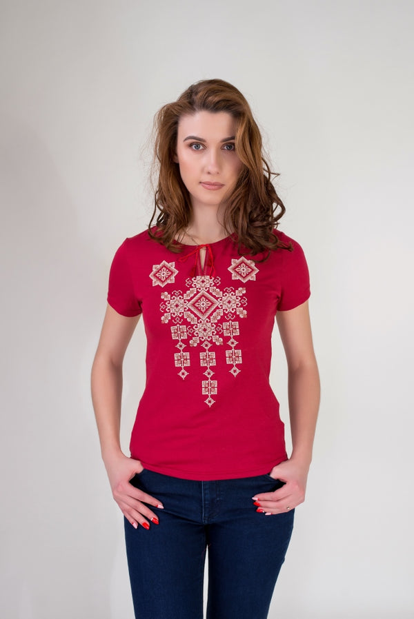 "Women's Embroidered T-shirt ""Pysanka""- Red"