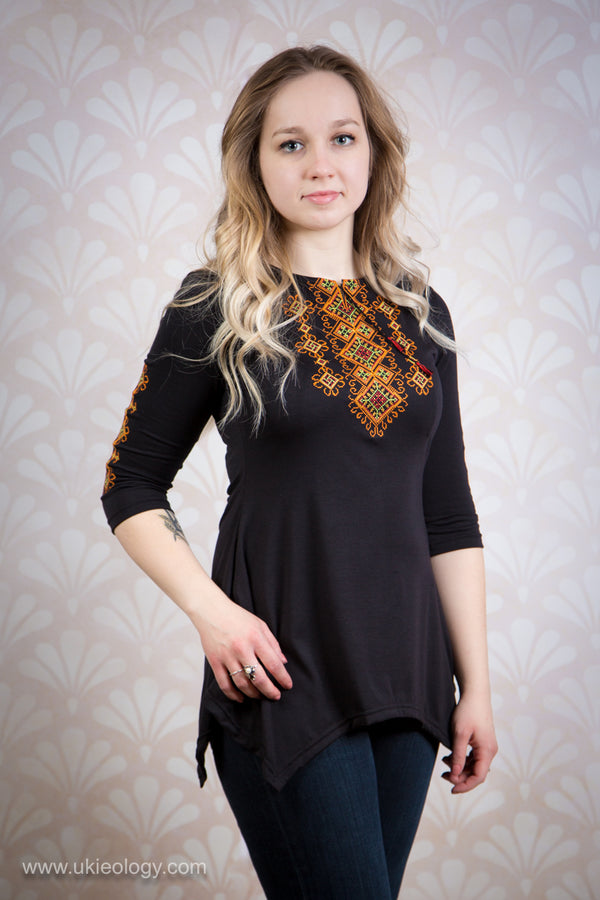 Tunic with Golden and Orange Geometric Embroidery