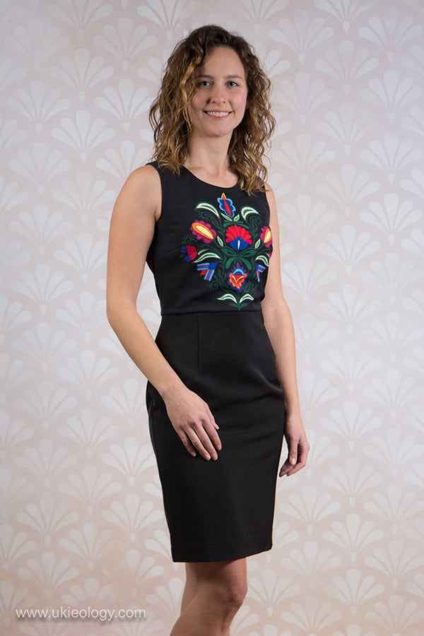 Black Dress with Flower Design