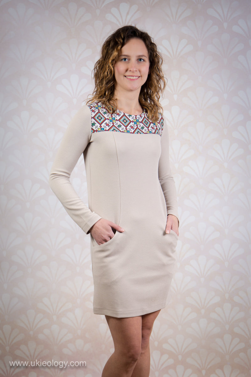 Beige Dress with Colourful Geometric Design
