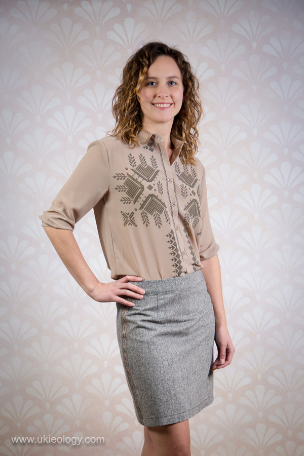 Beige Blouse With Geometric Design