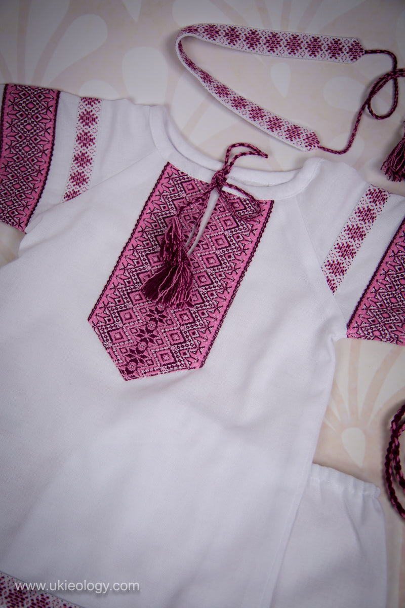 Baby Girl Pink Embroidered Set