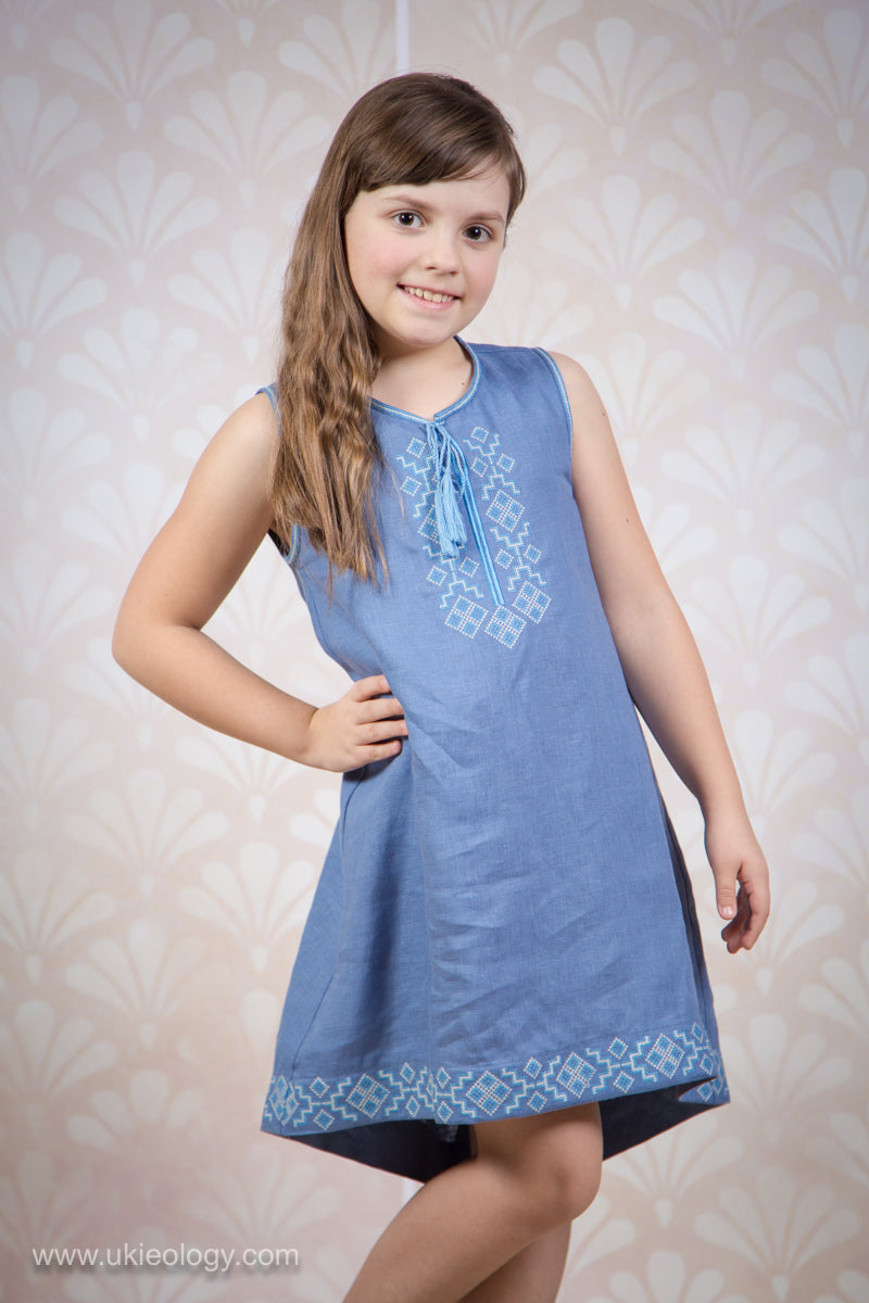 Girl's Tunic with Blue and White Embroidery