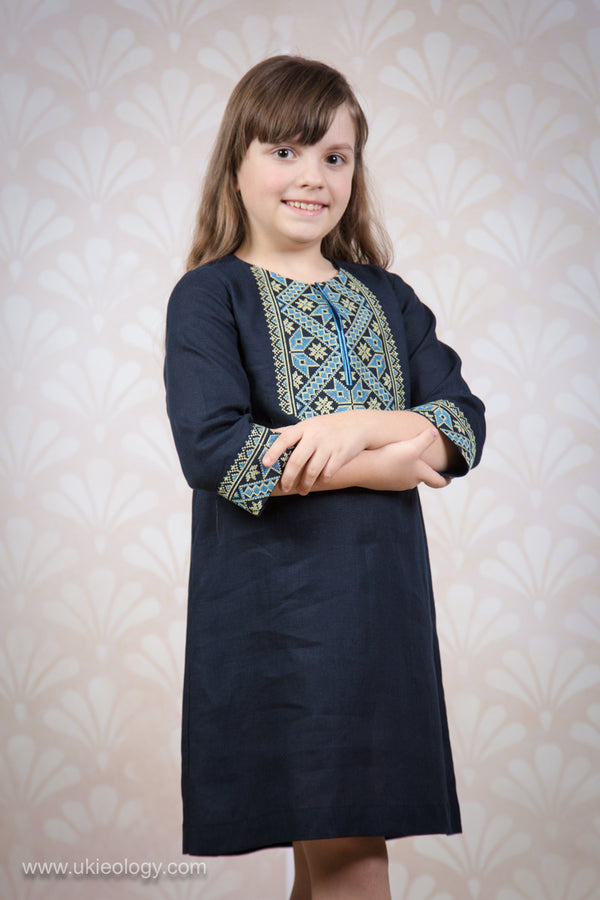 Girl's Navy Blue Embroidered Dress