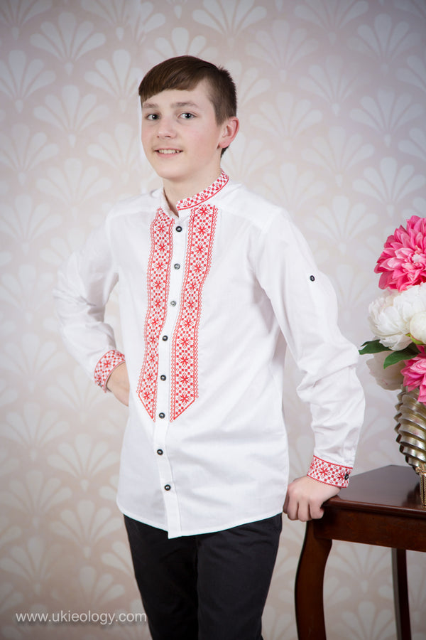 Boy's Dress Shirt with Red Embroidery
