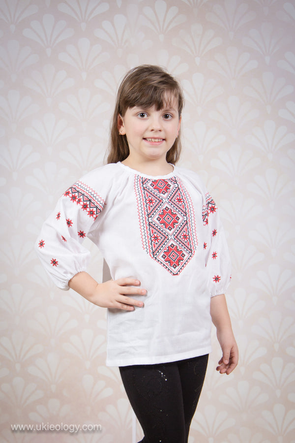 Girl's Blouse with Red and Black Embroidery