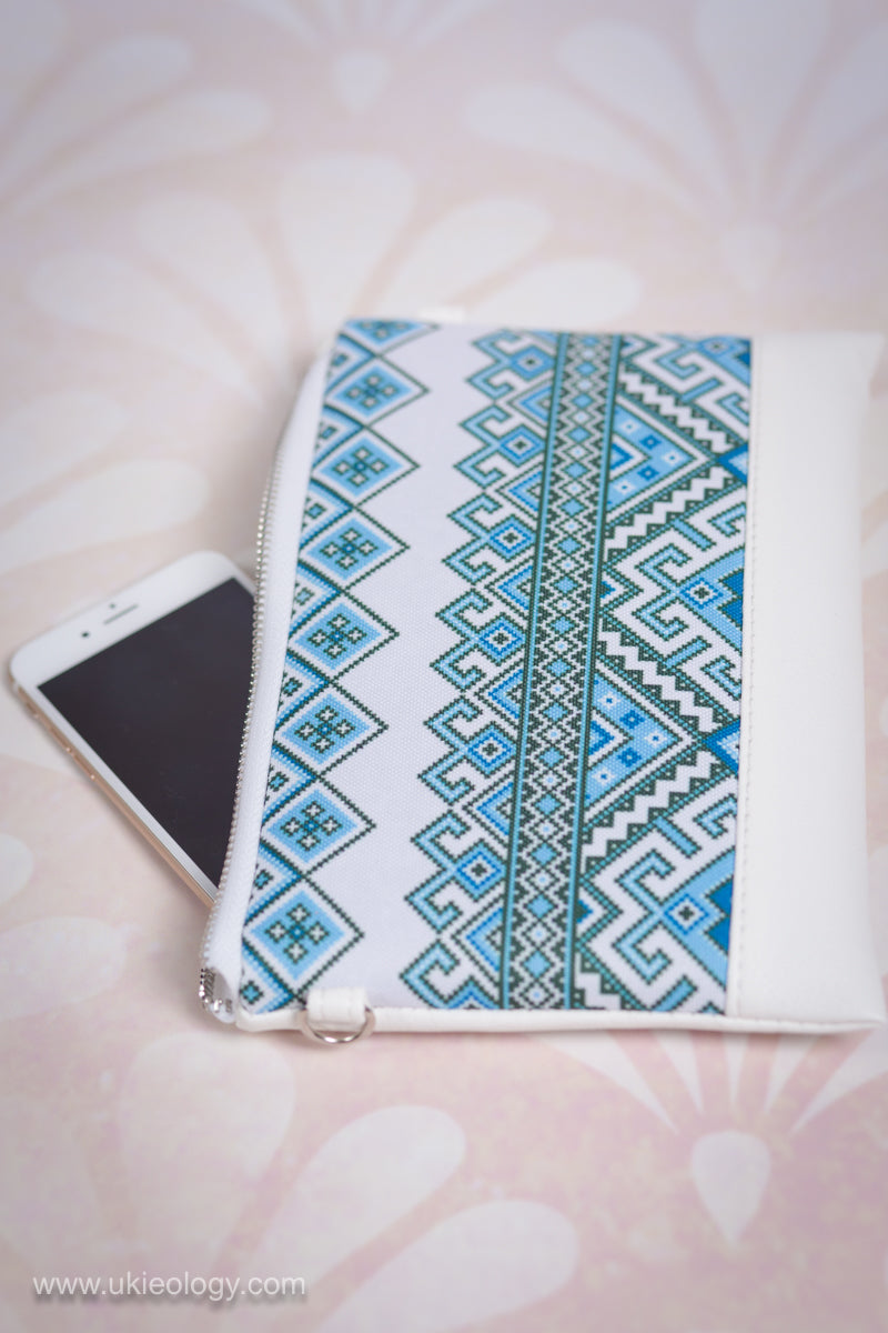 "Faux Leather Clutch ""Blue Embroidery"""