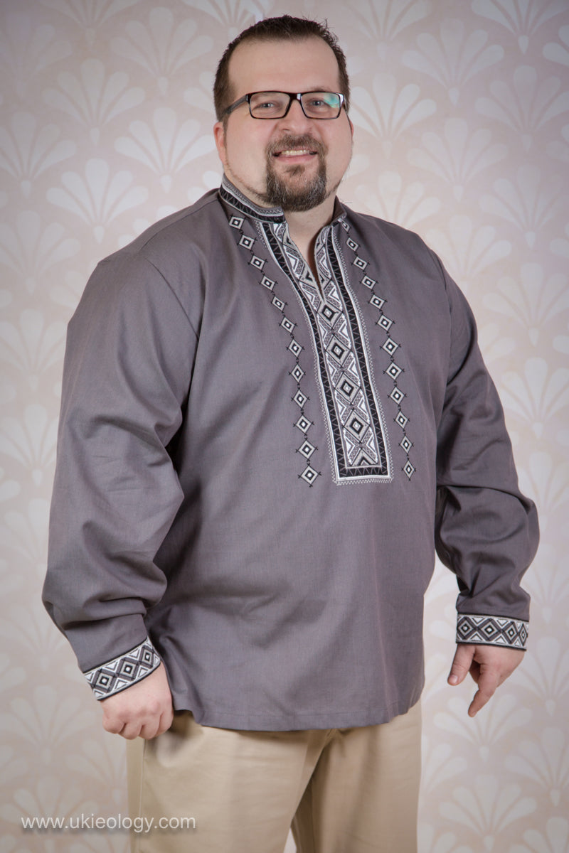 Modern Grey Embroidered Shirt