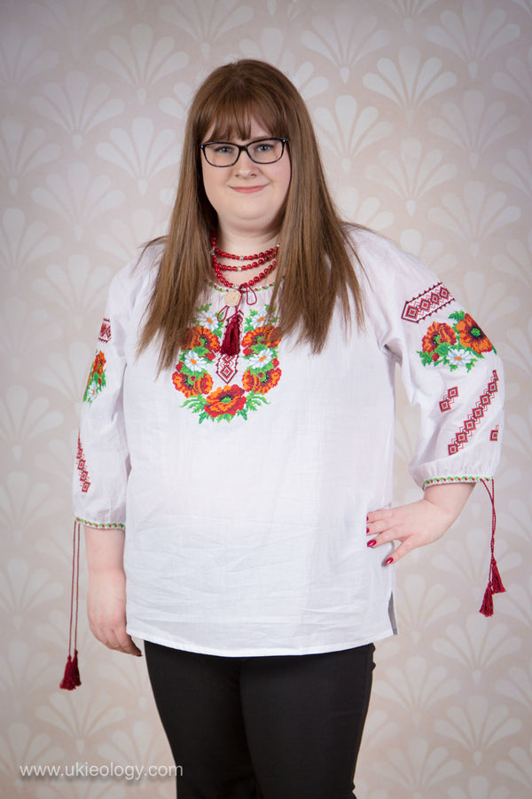 White Embroidered Blouse with Poppies