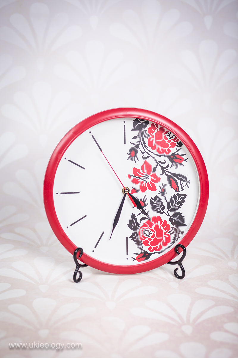 "Wall Clock ""Red Rose"""