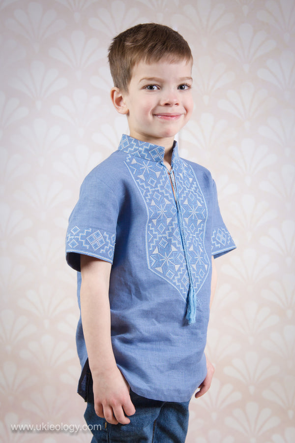 Boy's Blue Short Sleeve Linen Shirt