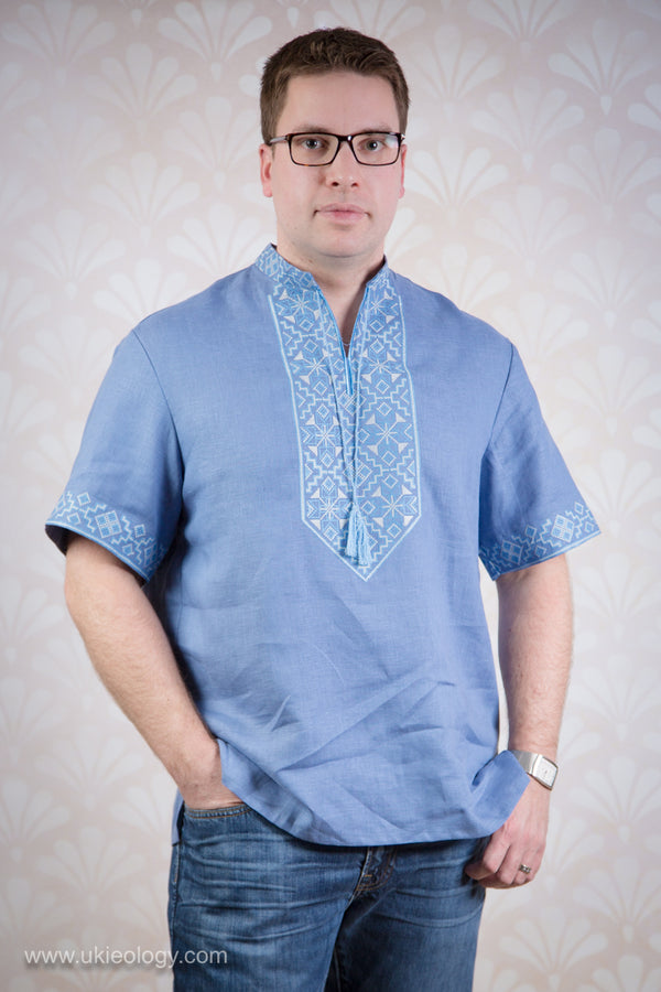 Men's Blue Embroidered Shirt