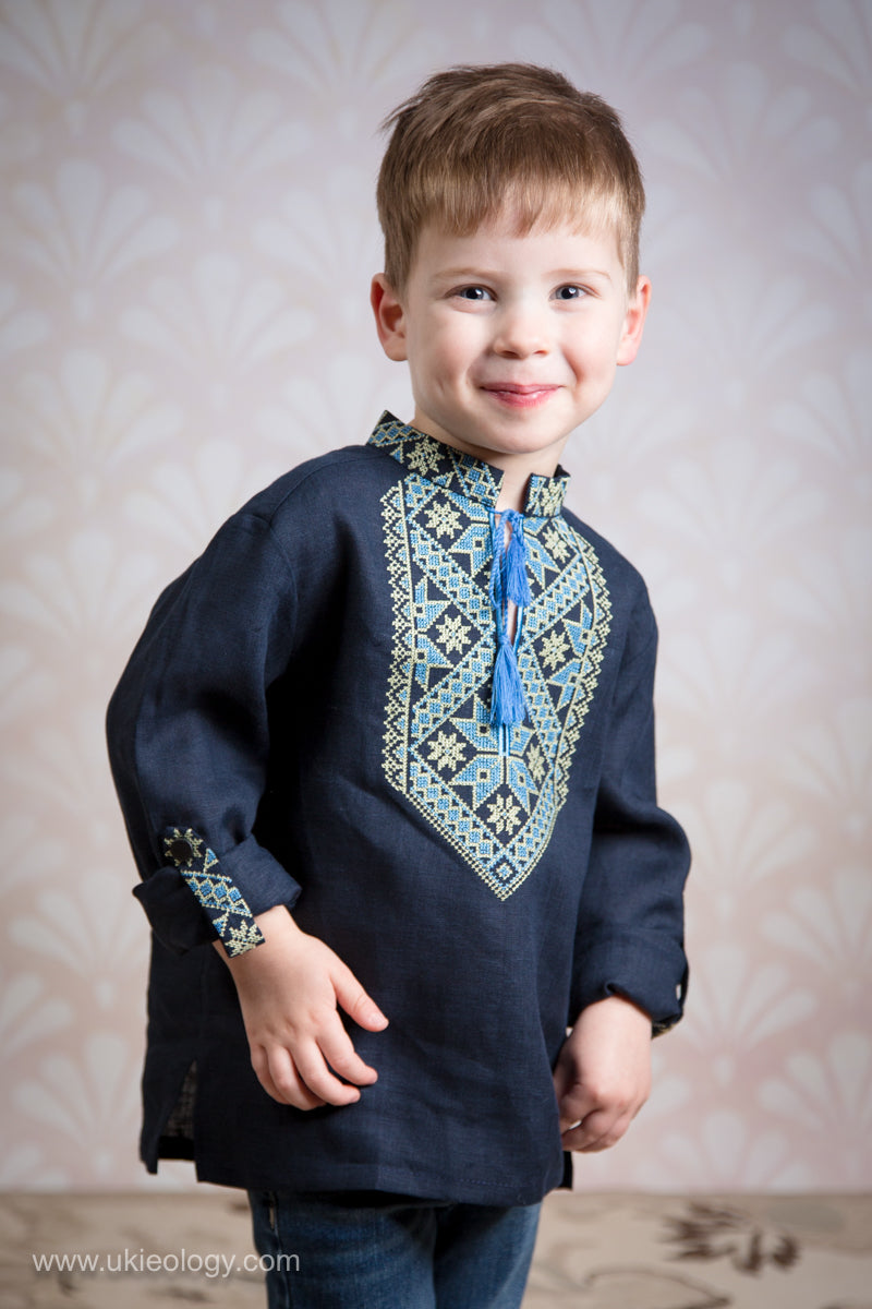 Boy's Navy Blue Linen Shirt