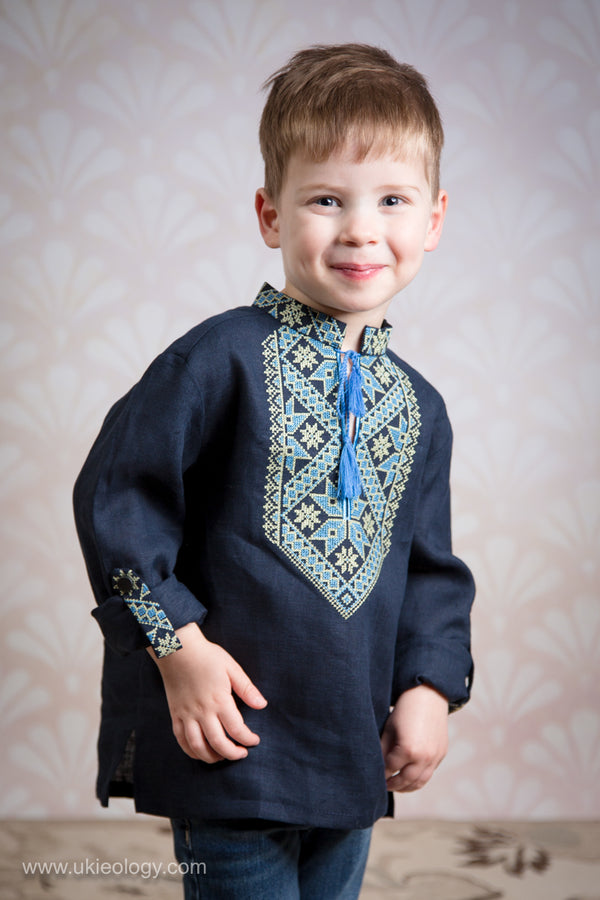 Boy's Long Sleeve Navy Blue Embroidered Shirt