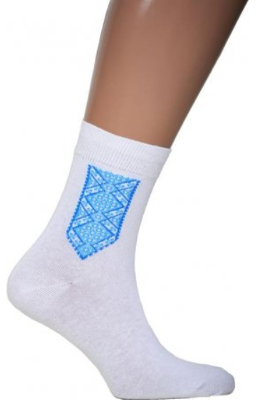 Men's White Socks with Blue Embroidery