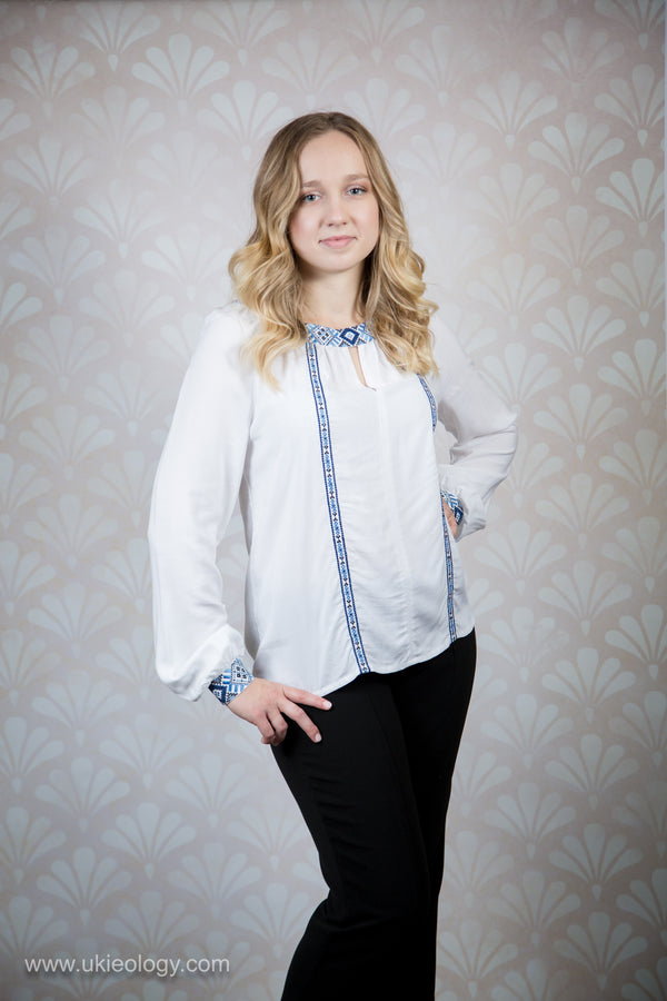 White Blouse with Blue Embroidered Detail