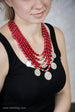 Korali - red beaded necklace with decorative coins