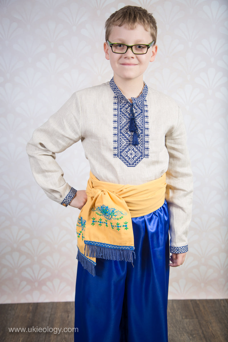 Boy's Linen Embroidered Shirt