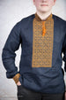 Men's Navy Blue Shirt with Gold Embroidery