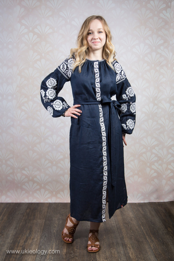 Embroidered Navy Blue Button Up Dress