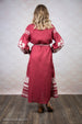 Red Linen Embroidered Dress