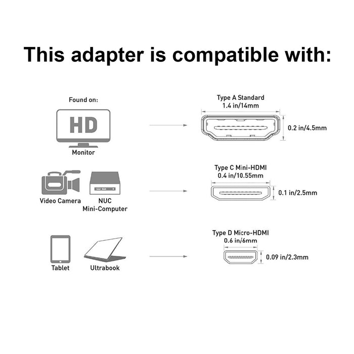 Micro HDMI Male to Standard HDMI Female Adapter HDTV 4K 1080p 3D
