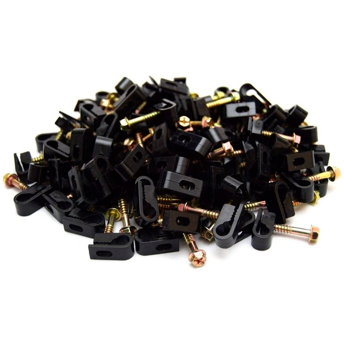 SatelliteSale Black RG6 Single Cable Grip Mounting Screw Clips 100 CT